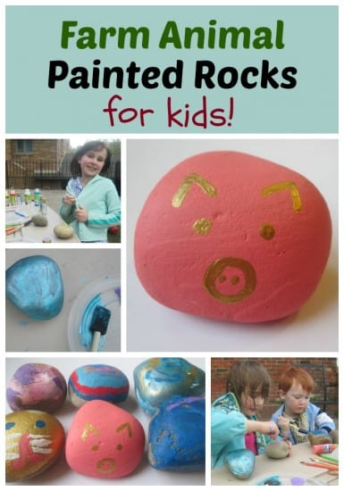 Farm Animal Painted Rocks for Kids